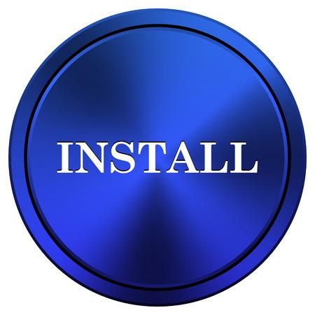 operative: Metallic icon with white design on blue background