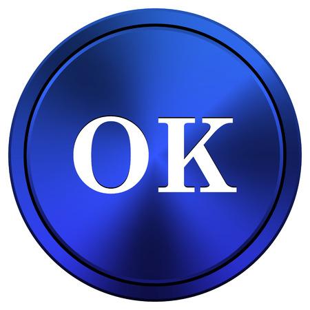 Metallic icon with white design on blue background