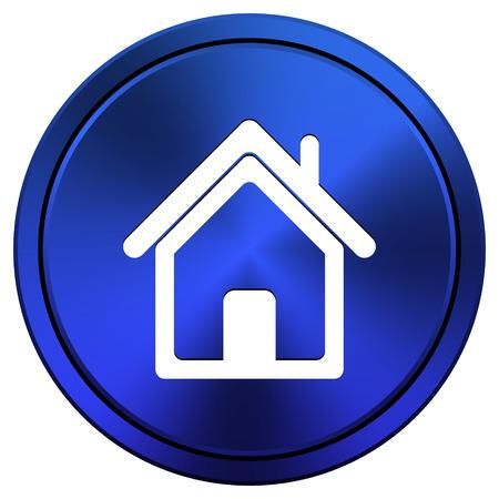 Metallic icon with white design on blue background photo