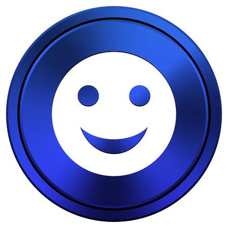 smily face: Metallic icon with white design on blue background
