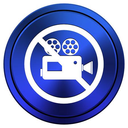 Metallic icon with white design on blue background Stock Photo - 23493771
