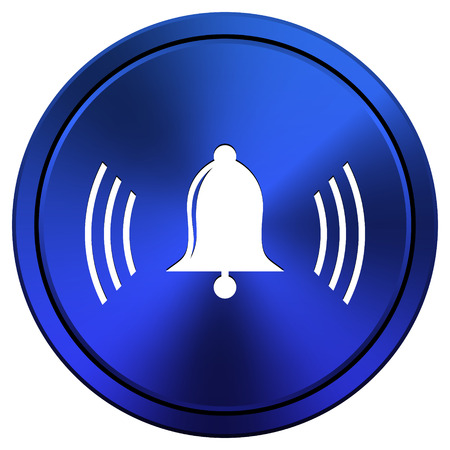 Metallic icon with white design on blue background photo