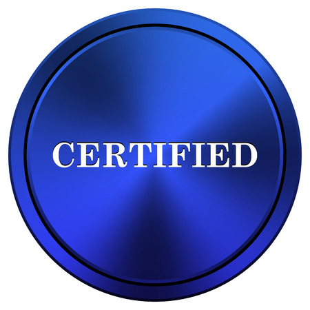 of ratification: Metallic icon with white design on blue background