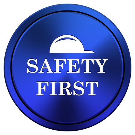 safety first: Metallic icon with white design on blue background