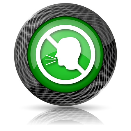 noisily: Shiny glossy icon with white design on green background