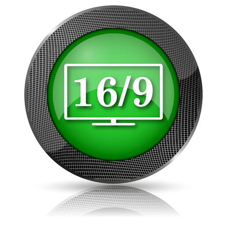 16 9 display: Shiny glossy icon with white design on green background