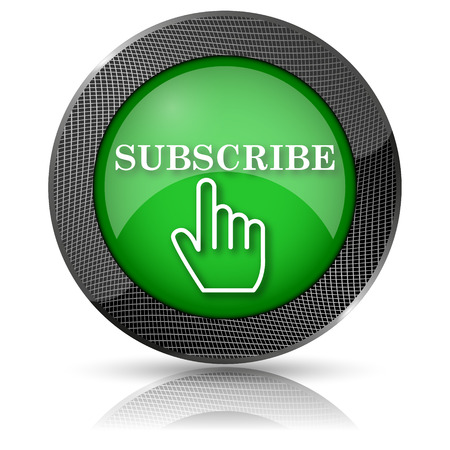subscribing: Shiny glossy icon with white design on green background