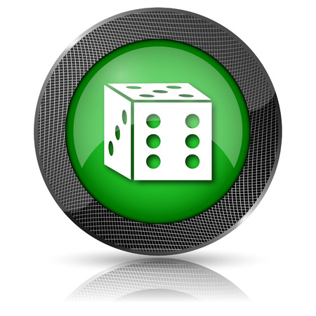 craps: Shiny glossy icon with white design on green background