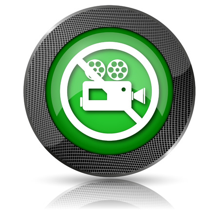 Shiny glossy icon with white design on green background Stock Photo - 23742566