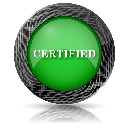 endorsed: Shiny glossy icon with white design on green background
