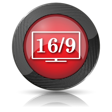 16 9 display: Shiny glossy icon with white design on red background