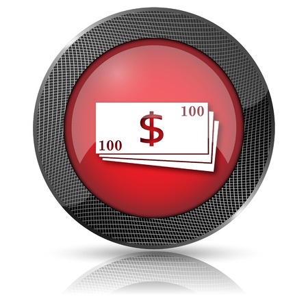 Shiny glossy icon with white design on red background photo