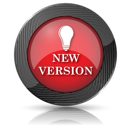 new and improved: Shiny glossy icon with white design on red background