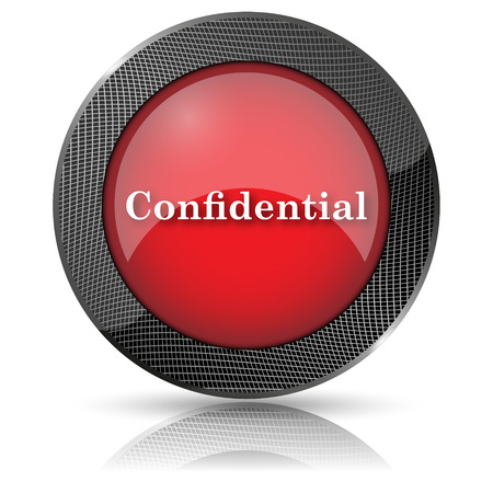 confidentiality: Shiny glossy icon with white design on red background
