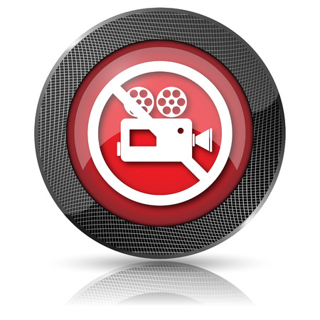 Shiny glossy icon with white design on red background Stock Photo - 23758949