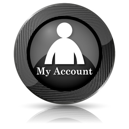 Shiny glossy icon with white design on black background Stock Photo - 23803298
