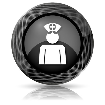 clinical staff: Shiny glossy icon with white design on black background