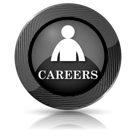 career entry: Shiny glossy icon with white design on black background
