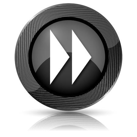 Shiny glossy icon with white design on black background photo