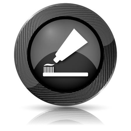 Glanzende glossy pictogram met wit ontwerp op een zwarte achtergrond Stockfoto