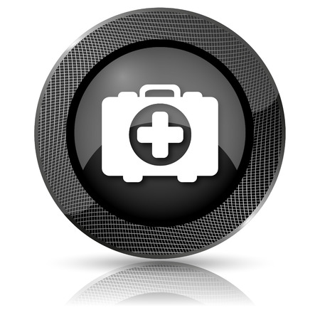 first aid kit key: Shiny glossy icon with white design on black background