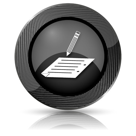 subscribing: Shiny glossy icon with white design on black background