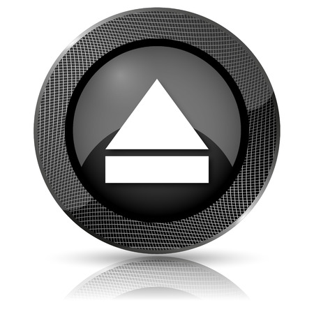 Shiny glossy icon with white design on black background photo
