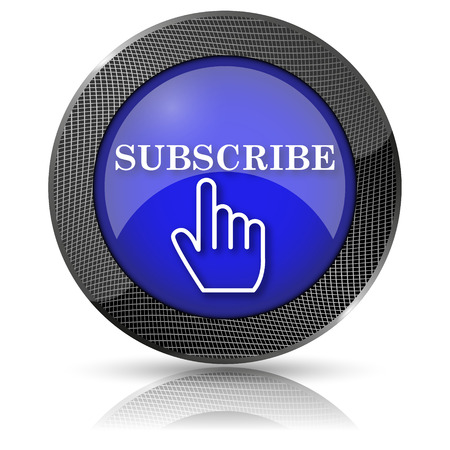 subscribing: Shiny glossy icon with white design on blue background