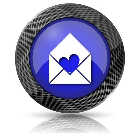 Shiny glossy icon with white design on blue background photo