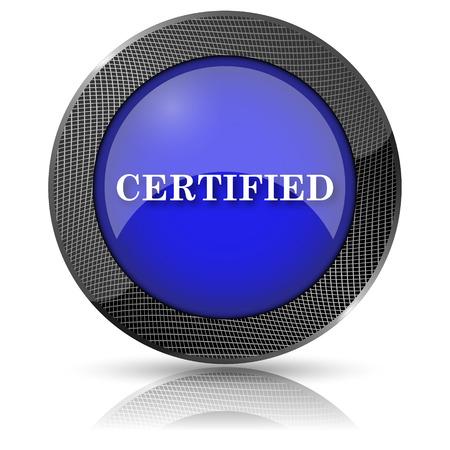 ratificaci�n: Icono brillante brillante con dise�o blanco sobre fondo azul