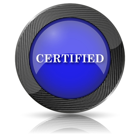 endorsed: Shiny glossy icon with white design on blue background