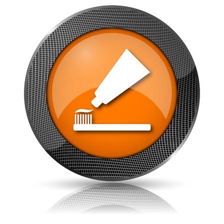 fluoride toothpaste: Shiny glossy icon with white design on orange background