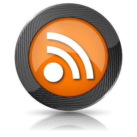 Shiny glossy icon with white design on orange background Stock Photo - 24084884