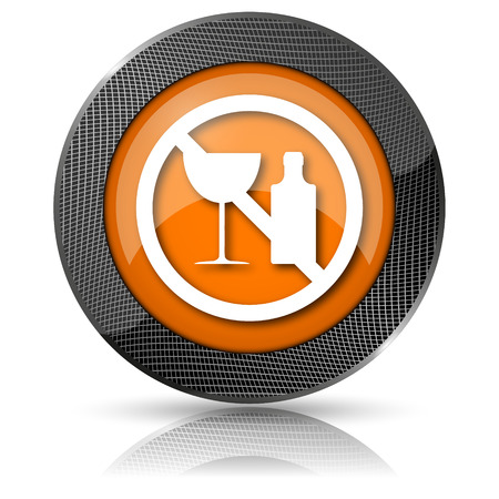 Shiny glossy icon with white design on orange background photo