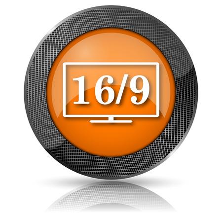 16 9: Shiny glossy icon with white design on orange background
