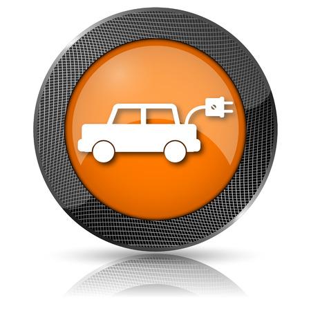 Shiny glossy icon with white design on orange background