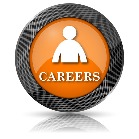 hired: Shiny glossy icon with white design on orange background