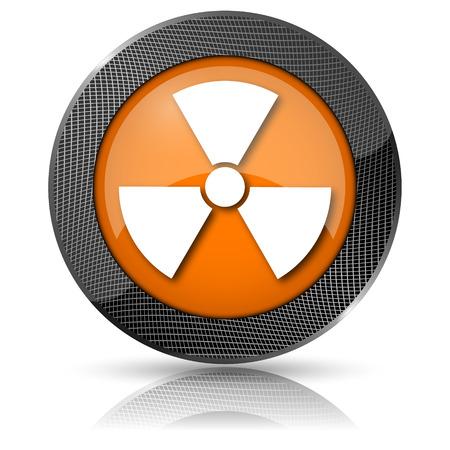 radium: Shiny glossy icon with white design on orange background