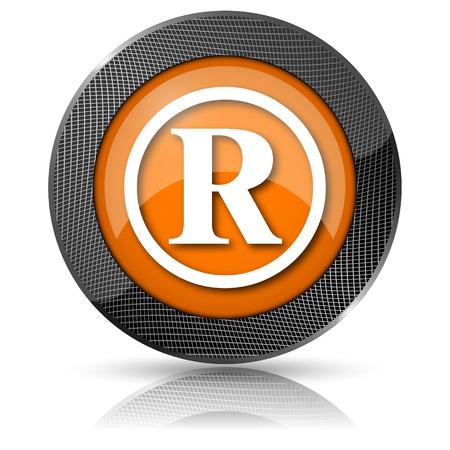 Shiny glossy icon with white design on orange background photo