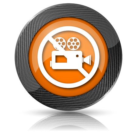 Shiny glossy icon with white design on orange background Stock Photo - 24086515