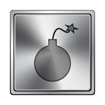 mines: Square metallic icon with carved design on grey background