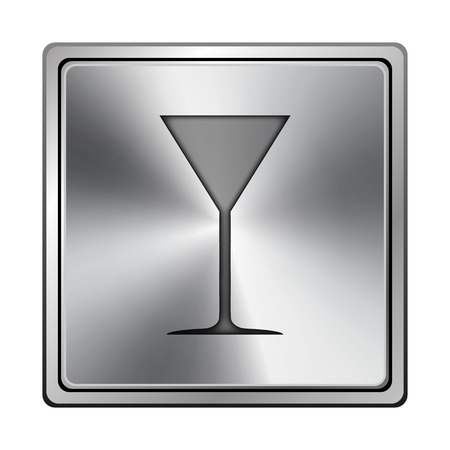 vermouth: Square metallic icon with carved design on grey background