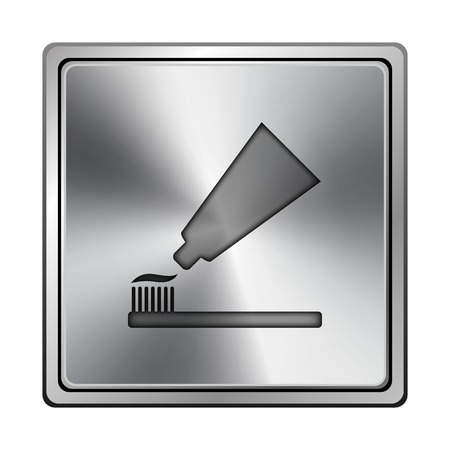 toothbrushing: Square metallic icon with carved design on grey background