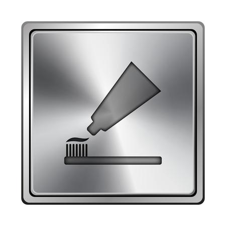 Vierkante metallic pictogram met gesneden ontwerp op grijze achtergrond