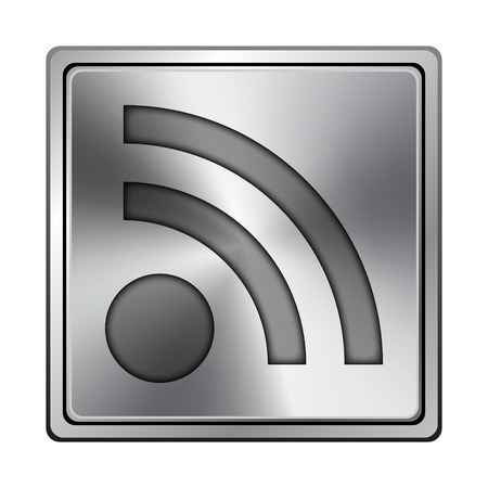 syndication: Square metallic icon with carved design on grey background