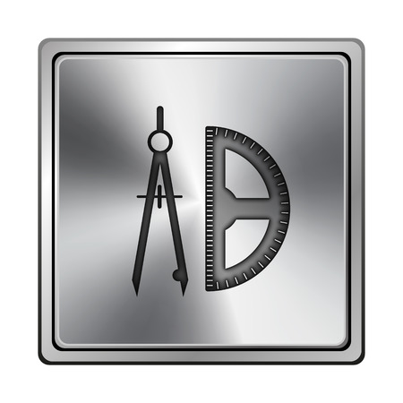 Square metallic icon with carved design on grey background photo