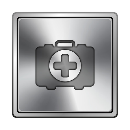 first aid kit key: Square metallic icon with carved design on grey background