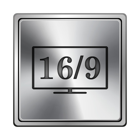 16 9 display: Square metallic icon with carved design on grey background