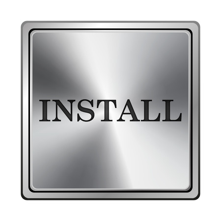 operative system: Square metallic icon with carved design on grey background