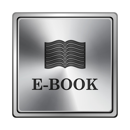 audiobook: Square metallic icon with carved design on grey background